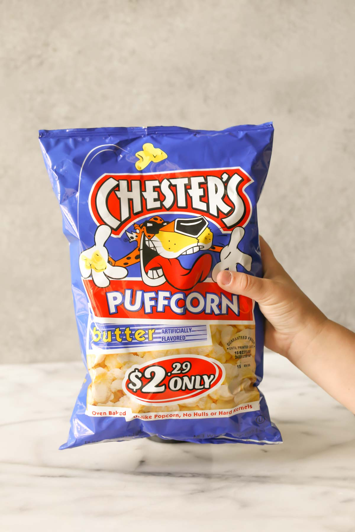 A bag of Chester's Puffcorn butter flavored - used in the Caramel Puff Corn recipe.