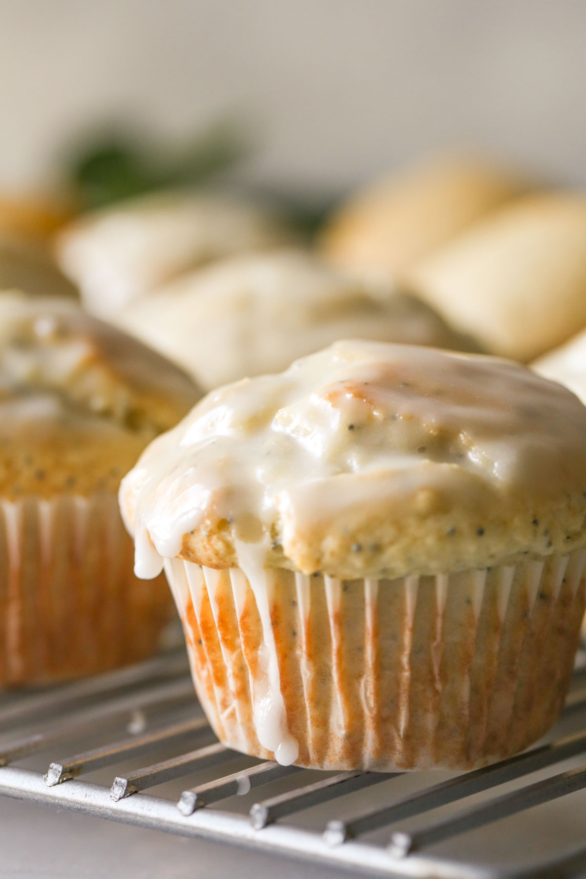 Close up shot of a Glazed Lemon Poppy Seed Muffin on a cooling rack, with more muffins in the background.
