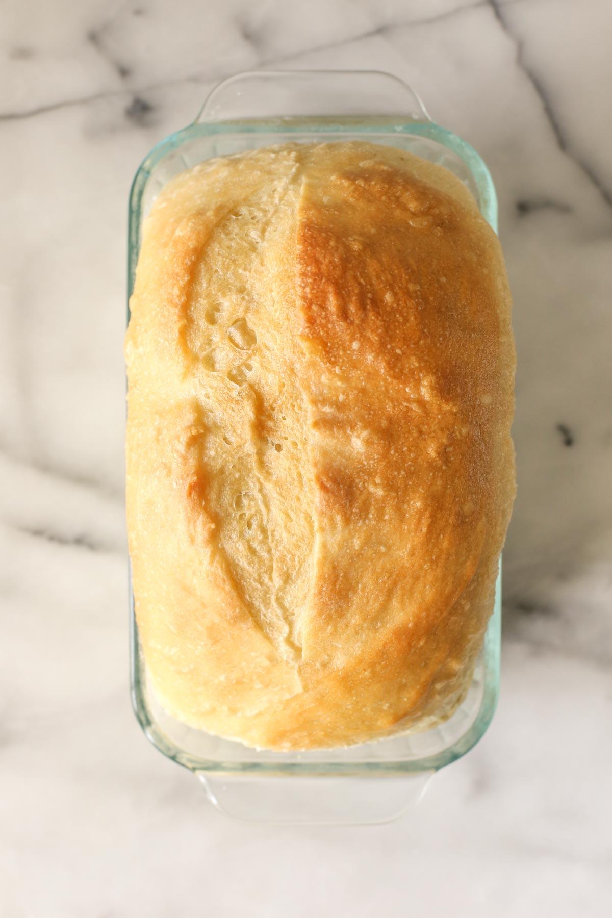Overhead shot of a Sourdough Sandwich Loaf after baking.