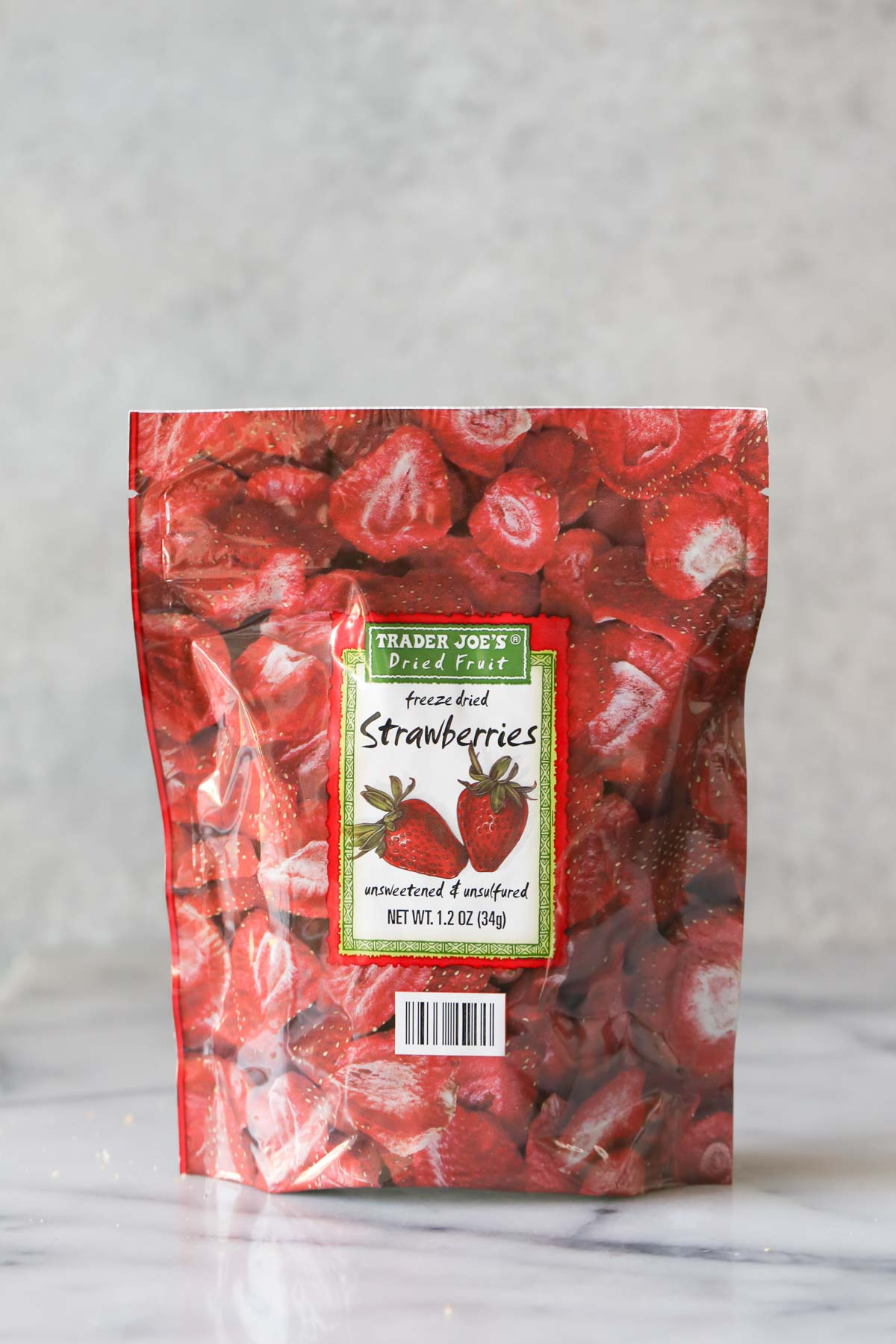 A package of Trader Joe's Freeze Dried Strawberries that are used in the recipe for Strawberry Rice Krispie Treats.