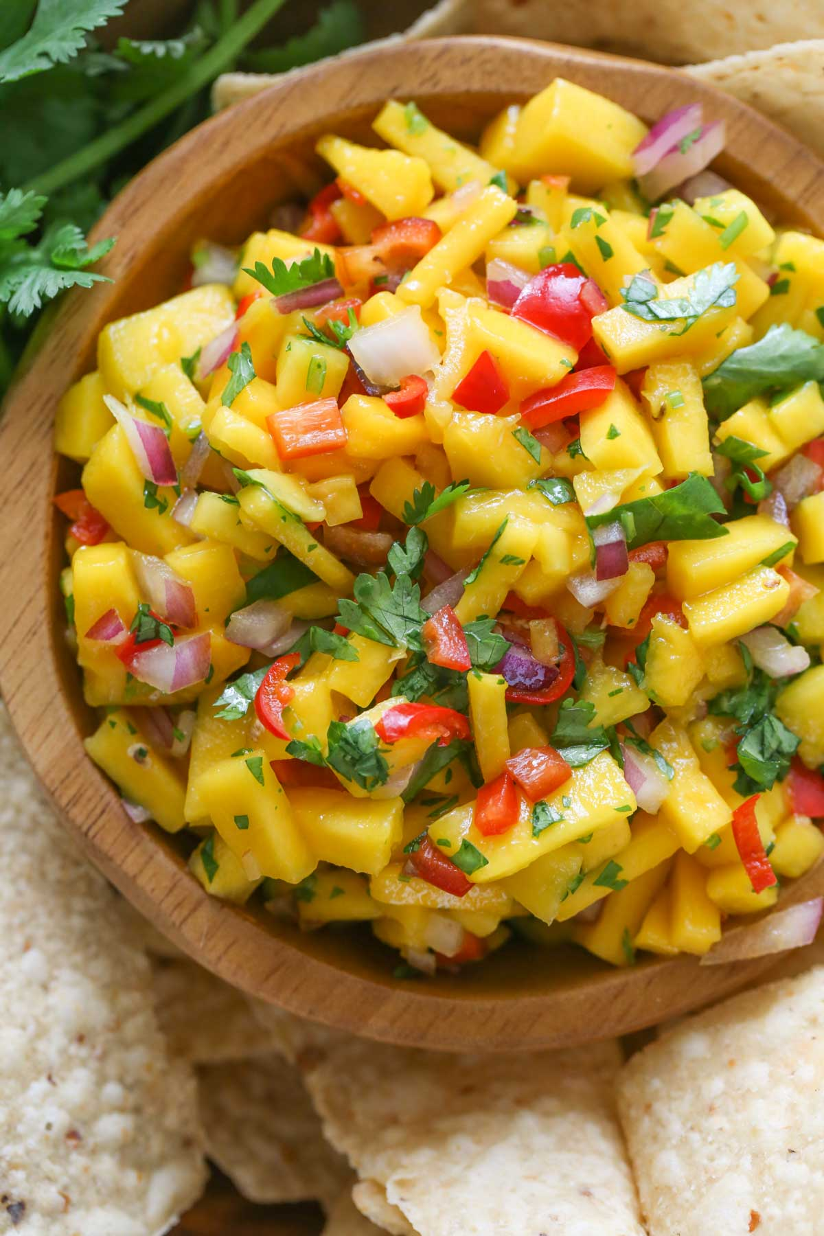 Close up shot of Mango Lime Salsa in a wood bowl with chips and cilantro around it.